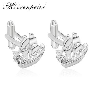 2019 Personality Fashion Silver Color Copper Zircon Cuff Buckle Ship Sailing Men's Shirt Dress Jewelry High Quality Party