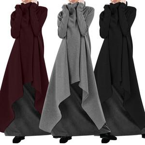 Sonbahar Kapüşonlular Sundress Kadın Asimetrik Elbise 2019 ZANZEA Turtleneck Uzun Kollu Tişörtü Maxi vestidos Artı boyutu Robe 7