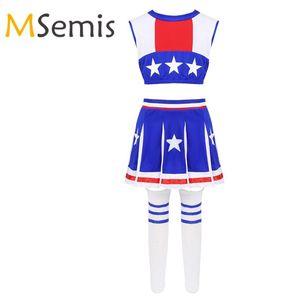 Muchachas de los cabritos de la animadora del equipo del traje Estrellas Impreso Cheerleading Crop Top con falda y calcetines Uniforme Colegiala Cheerleading