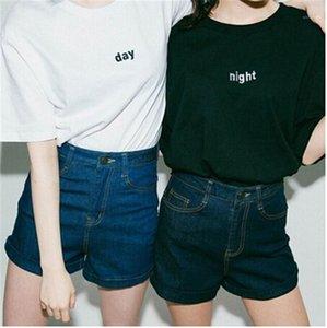 Tees Day Night Impresso Womens T-shirts Summer manga curta O Neck Ladies Tops Casais Moda soltos