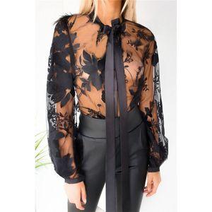 Kadın Tasarımcı Tshirt See Through Bahar Seksi Bayanlar Siyah Tees Moda Tasarımcısı Hırka Uzun Kollu Giyim