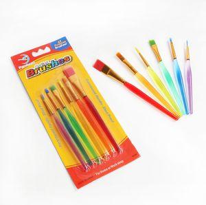 도매 6 스틱 투명 DIY 어린이 수채화 브러쉬 다채로운 막대 그림 브러쉬 내구성 아이 소프트 브러쉬 드로잉 펜 DH1200 T03