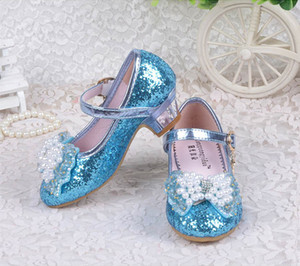 Glitter shoes 4 color Lovely Kids Girls PU Leather sandals Snow Queen Princess Cosplay Party Dance High Heel Butterfly Knot Shoes KJY990