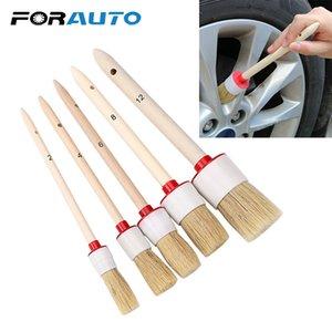 Cerda suave del coche del cepillo para el interior del tablero de instrumentos llantas de las ruedas Aire Acondicionado Motor Auto Care Wash Auto Detallado mango de madera