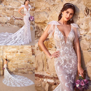 Kitty Chen 2019 Nova Sereia Vestidos de Noiva Backless Frisado Espaguete V Neck Lace Appliqued Vestidos De Noiva Da Praia Vestido De Noiva Do Trem da Corte