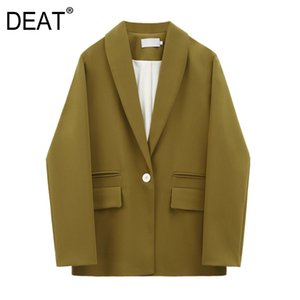 [DEAT] Women Mustard Yellow Leisure Blazer New Lapel Long Sleeve Loose Fit Jacket Fashion Tide Spring Autumn 2020 13S209