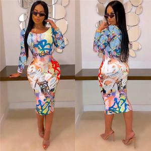 Brief-Druck-Frauen-beiläufiges Kleid Mode Panelled 3D Digital Print Damen Bodycon Kleider Designer Weibliche Kleidung