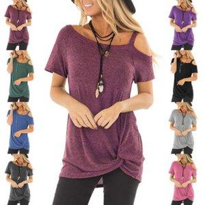 Tasarımcı T Shirt Moda Yaz Casual Twisted Tişört Kısa Kollu Straplez Üst Milli Stil Kadın Tasarımcı Lüks Giyim Womens