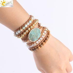 CSJA Women Wrap Bracelets Natural Stone Beads Ocean Agates Charms Jewelry 5 Strand Girls Friendship Boho Bracelet Dropship S217