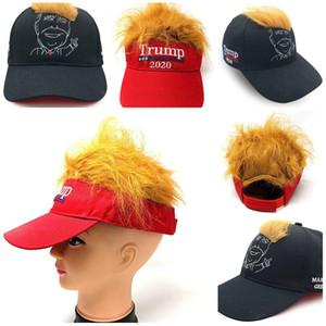 새로운 핫 도널드 트럼프 헤어 스타일 만화 그림 야외 야구 모자 2020 재미 트럼프 머리 모자 자수 해변 태양 모자 T3I5601