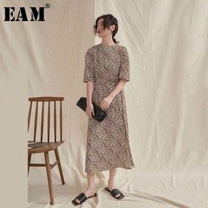 [EAM] Mulheres Yellow Leopard Impresso vestido longo Nova Rodada Neck meia manga solta Fit Moda Tide Primavera-Verão 2020 1U880