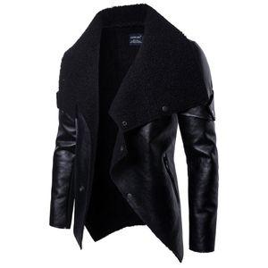 2019 Moda chaqueta de cuero Motociclista para hombre abrigos de piel sintética con cremallera botón veste de cuir Primavera Outwear hombres abrigos
