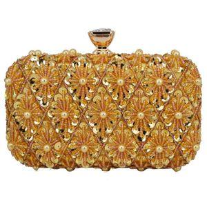 Mode de perles de mariage Sacs de mariée d'or rose perle paillette d'embrayage Sacs pour femme Portefeuille d'embrayage soir Porte-monnaie