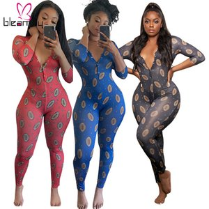 Casual Fitness Biker Long Pant Jumpsuit Women Long Sporty Bodycon One Pieces Rompers Printed V-neck Plus Size 5XL Home Clothes