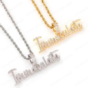 Хип-хоп Непорочный циркона Письмоное ожерелье для мужчин Западное роскошное ожерелье из нержавеющей стали Кубинские цепи
