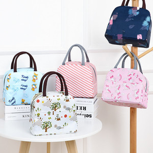Geometric Printed Lunch Bag PortableThermal insulation bag Food Picnic Lunch Bags Stripe Cooler Bento bag T2D5071