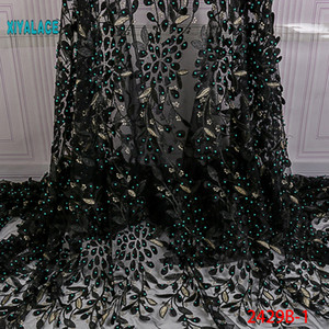 Nigerian Beaded Lace Fabric 2020 High Quality African 3D Net Lace Fabric Wedding French Tulle Material For Dress YA2429B-1