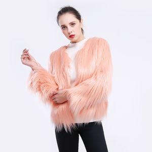 Faux Feminino Faux 2021 Mulheres Inverno Casaco elegante Long Slim Fit Jackel Parka Outwear Casual para Senhoras