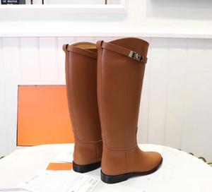 Sıcak Satış-e Yüksek Düz Boots Siyah Gri Kahverengi Bayanlar Martin Boots Flats Topuklar Kadın Şövalye Boots 35-42