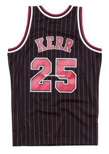 Barato Personalizado Steve Kerr # 25 Mitchell Ness 95-96 Jersey-Riscas Retro Mens XS-6XL costurado basquete jerseys Ncaa