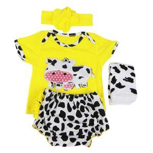 Camisa de la historieta encantadora Caw Impreso Calcetines Calzoncillos diadema Juego para 22-23inch Renacido Bebé recién nacido niña ropa de muñecas