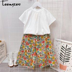 Teenster coréenne capitule Vêtements enfants Blanc ShirtWide Leg Pants tout-petits filles Vêtements Set adolescents d'été Mode Tenues T200707