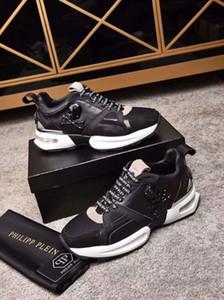 Novos homens de alta qualidade homem de couro sapatos casuais com caixa e saco de pó O homem sneaker PP running shoes-005