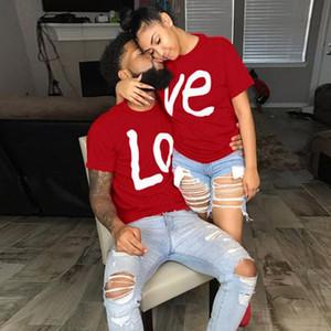 Heißer Verkauf Lovers Paar Sommer Lustige Paar Frauen-T-Shirts Heart Love Druck kühlen Mann-Kurzschluss-Hülsen Paar Boyfriend Kleidung