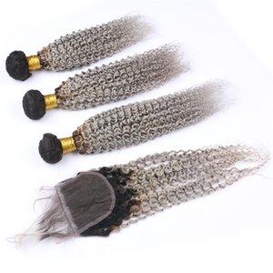 Virgem Cabelo brasileiro cinza prata Ombre Kinky Curly Weave 3Bundles com fechamento superior # 1B / cinza Ombre Virgin trama do cabelo com 4x4 Lace Encerramento