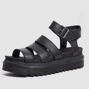Büyük boy 35-40 tasarımcı gladyatör sandaletler kadınlar siyah yaz nedensel ayakkabılar rahat gerçek deri toka platformu sandalet siyah kahverengi