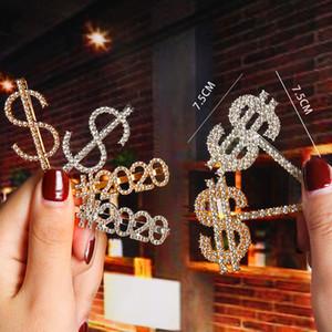 Клипы Новый Кристалл Rhinestone Письмо волос Золото Шпилька Алмазные 2020 Слова Barrettes Мода $$$$ Челка клип Женщины Аксессуары для волос ювелирных изделий
