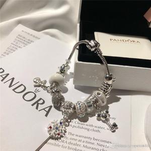 Pan bracciali bangle monili in rilievo progettista lega d'argento fili del braccialetto di fascino del progettista con la scatola originale set 18 19 20 21 22 23 centimetri