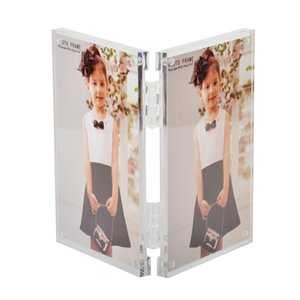 """4x6"""" Hinged Book Style Acrylic Photo Picture Frames with Magnetic for Tabletop Use PF043"""
