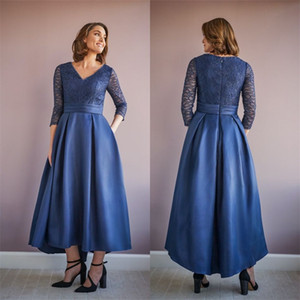 Navy Blue Mother Of The Bridal Dresses V-neck Long Sleeves Satin Long Party Dress Applique Lace Ankle-Length Wedding Prom Dress