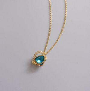 2019 Neue Luxus-Halskette Blue Diamond Herz-geformter Kreis hängende Halskette für Designer Frau Schmuck Geschenk