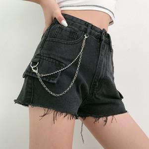 Goth foncé Vintage Gothique Punk Short Harajuku chaîne d'été 2020 de Streetwear Emo Y2K femmes Shorts Haut Bouton taille Torn bord
