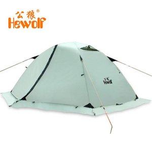 Hewolf Outdoor Four Seasons Tenda invernale invernale per 2 persone a doppio strato Gonna da neve per tenda da campeggio turistica da spiaggia