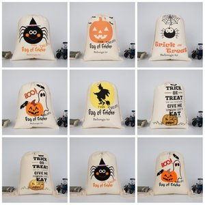 Cotton Drawstring Bag Spider Pumpkin Witch Bundle Pocket Halloween Trick Or Treat Blongs To Storage Shopping Bags For Festival Gift