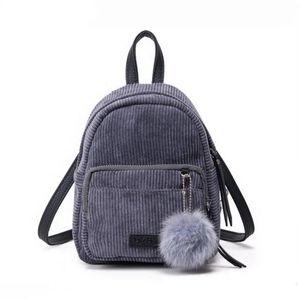 2020 Backpack Small Mini Backpack Small Women Shoulder Bag Fur Ball Solid Color Corduroy Back Pack winter Velvet Schoolbag