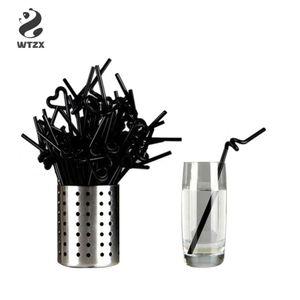 100pcs / lot 21 centimetri di paglia nera flessibile lungo Bicchieri di plastica Cannucce festa di nozze fai da te per tè e caffè succo di paglia accessori per alcool