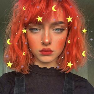 Women Fashion Wigs Medium Short Curly Wave Wavy Bright Orange Wig Lolita Fringe