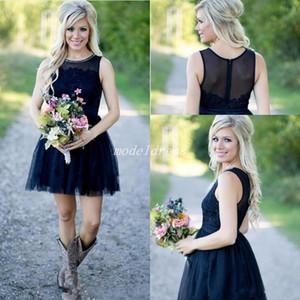 2019 Short Dark Navy Vestidos de dama de honor Jewel Lace Beads Mini Country Beach Garden Boda Vestidos de invitados Vestido de dama de honor Más el tamaño Barato