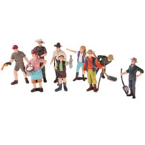 9 Pieces HO escala minúscula Pessoas Modelo de Simulação Pessoas Modelo fazendeiro Personagens Figuras de Ação pintada à mão Pose figura que está