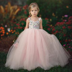 Estate neonate Princess Pink Flower Tutu Abiti bambini bretella maglia vestito bambini Prom Dresses vestito floreale dolce M893