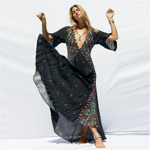 Bohem Stili Giysi Bayan Yaz Flora Baskılı Elbiseler V yaka Flare Kol Asimetrik Designer Giyim Konumlandırma yazdır