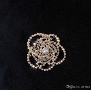 과장 궁전 바람 링 여성의 전체 프랑스어 빈티지 하이 엔드 플래시 다이아몬드 진주 동백 링 우아한 기질