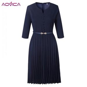 Aovica Özel Tasarım 2018 Popüler Günlük Stil Kadınlar Elbise Katı V-Boyun 3/4 Kol Pileli Midi Elbise vestidos MX200508