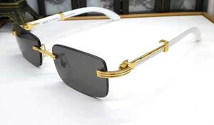Свободный корабль моды деревянные очки ретро старинные мужские спортивные рога буйвола блестящий золотой кадр лазерный логотип женщин высшего качества очки с коробкой