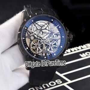 Новый Excalibur 46 RDDBEX0396 двойной турбийон автоматические мужские часы PVD сталь черный внутренний Серебряный скелет циферблат кожаные часы Puretime E44b2