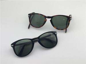 تصميم أزياء النظارات الشمسية الكلاسيكية الرجعية 714 طيار للطي إطار حماية زجاج عدسة UV400 النظارات مع حقيبة جلد